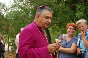 The Bishop enjoying the Polish Sausage