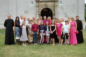Group photo in front of the church.