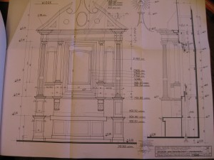Front view of blueprint for new High Altar